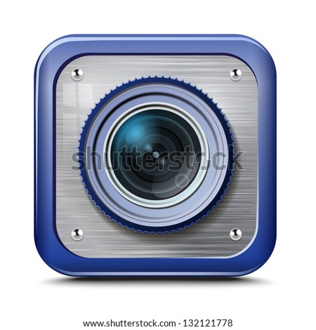 camera, metal structure, blue case, isolated on a white background.