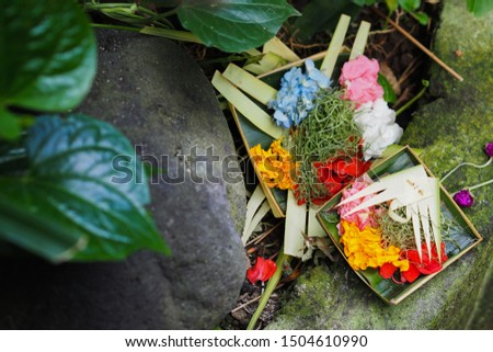 """Canang sari"" offerings to God which are offered every day by Balinese Hindus"