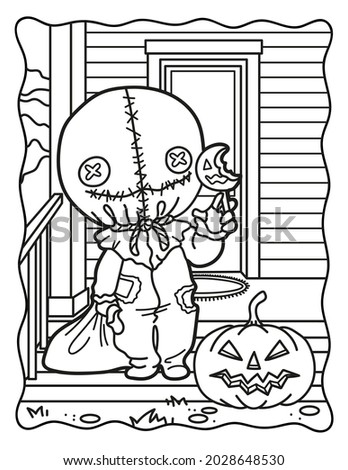 Candies or life. Trick-or-treat. Coloring book for children. Coloring book for adults. Halloween coloring page. Horror. Kawaii. Black and white illustration.