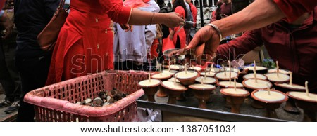 candle for worshiping Hindu gods in Nepal temples,Spiritual prayer candles at temple in Kathmandu, Nepal