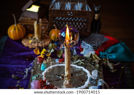 Candle magic, casting and cleansing aura with wax and candle, love spell, old European magic for a love, fate, luck