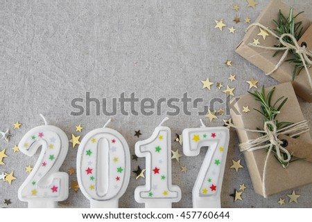 2017 candles with eco present boxes, New Year copy space background #457760644