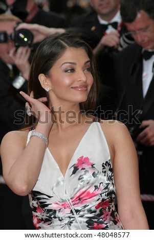 CANNES, FRANCE - MAY 12: Actress Aishwarya Rai attends the Woody Allen movie preview 'Match Point' at the Grand Theatre Lumiere on May 12, 2005 in Cannes, France