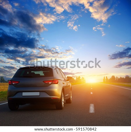 Car and light on the road.