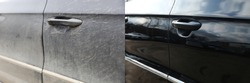 car door before and after washing close up