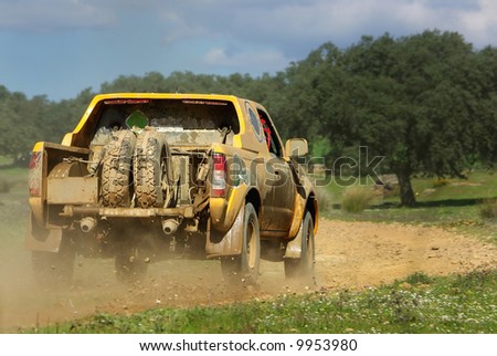 Car in competition in rally TT off-road.