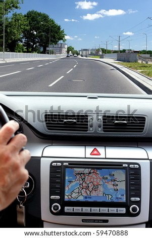 Car, windscreen and dashboard with gps display