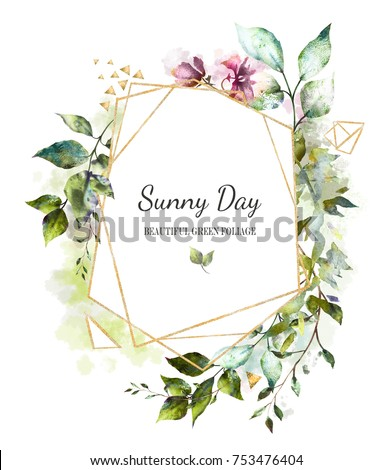 Card, Watercolor invitation design with  leaves, wild flowers. background with botanic elements for text, watercolor. Template.  geometrical frame