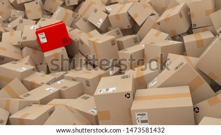 cardboard boxes with red one  3d rendering illustration ,Logistics,e-commerce,shipping
