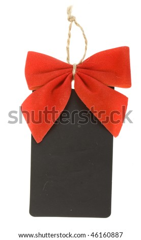 cardboard tags with red ribbon bow isolated on white background