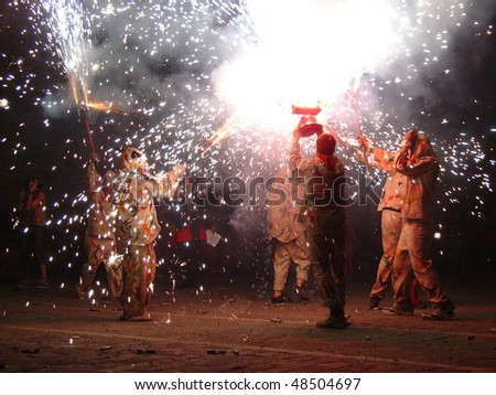 Carrefoc at the Merce Fiesta, Barcelona, Spain - stock photo