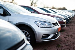 Cars in a row, automotive industry
