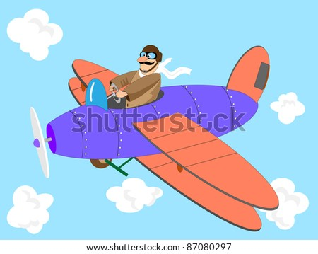 Cartoon aeroplane with the pilot