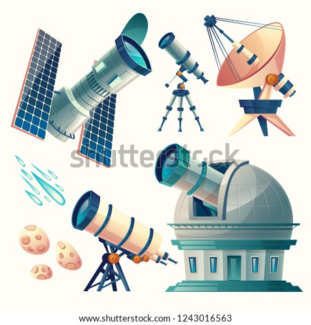 cartoon astronomy set. Astronomical telescopes - radio, orbital. Planetarium, observatory, satellite dish, antenna. Scientific equipment for observation meteors, comets sky stars