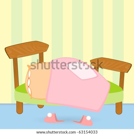 cartoon bed with a blanket and pillow, pink slippers