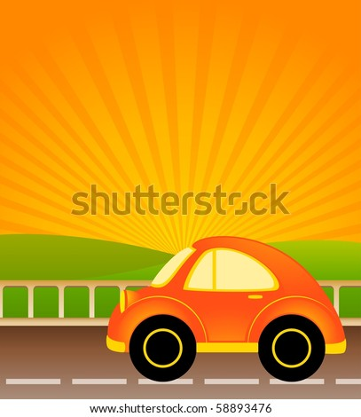 cartoon car on a background summer landscape