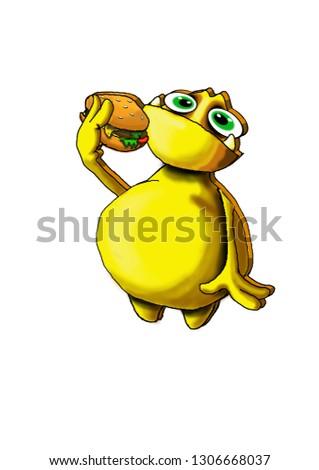 cartoon glutton alien