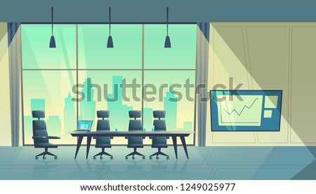 cartoon illustration of modern conference hall, room for meetings and business trainings, interior with furniture. Boardroom with table, chairs, projector on wall, big window with city view