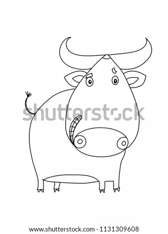 cartoon ox illustration characters coloring
