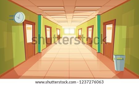 cartoon school or college hallway, university corridor