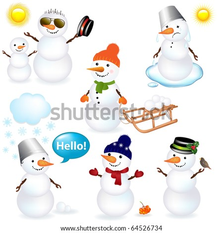 7 Cartoon Snowman, Isolated On White Background