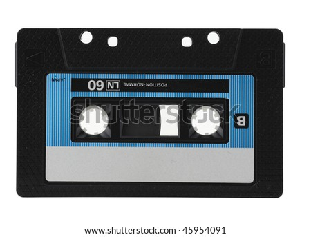 Cassette with cassette tape tape isolated on white with clipping path