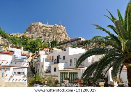 Castle of Santa Barbara from Santa Cruz neighborhood, Alicante (Spain)