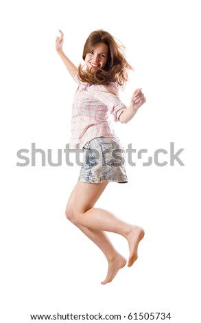 casually dressed  happy girl. Isolated over white - stock photo