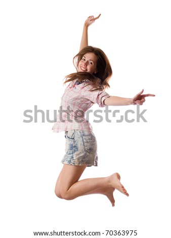 casually dressed  happy girl. Isolated over white