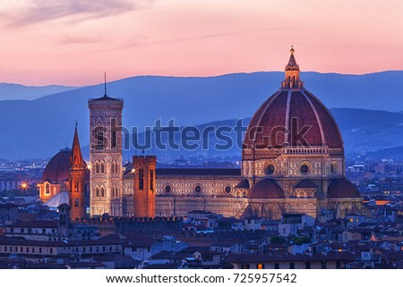 Cathedral of Santa Maria del Fiore on a sunset,Florence, Italy Foto stock ©