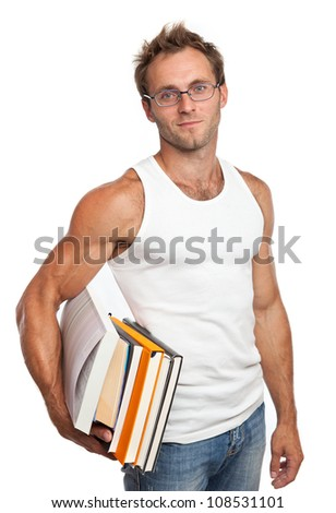 Caucasian man carrying stack of books over white