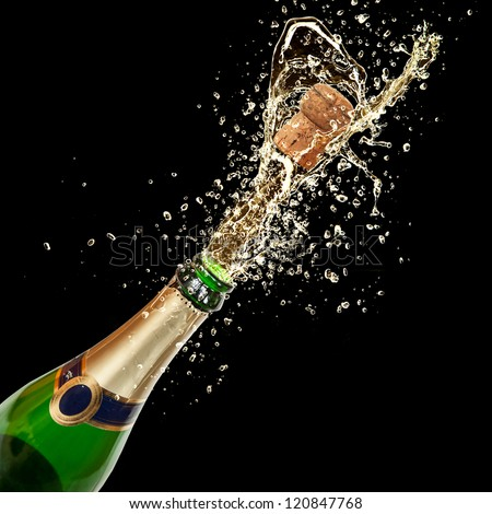 Celebration theme with splashing champagne, isolated on black background #120847768