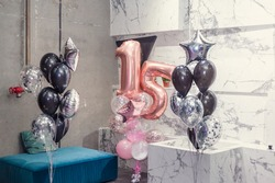 Celebratory balloons for the 15th anniversary of the teenager. Stylish Birthday