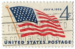 1959 4 cent US flag July 4th stamp with cancellation slogan
