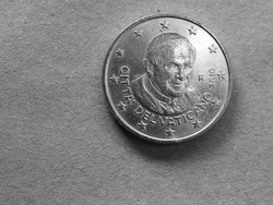 50 cents money (EUR), currency of European Union, commemorative coin showing Pope Benedictus XVI in black and white