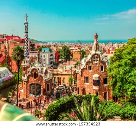 Ceramic mosaic Park Guell in Barcelona, Spain. Park Guell is the famous architectural town art designed by Antoni Gaudi and built in the years 1900 to 1914 #157354523
