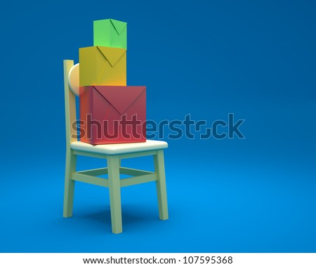 chairs with a blue background