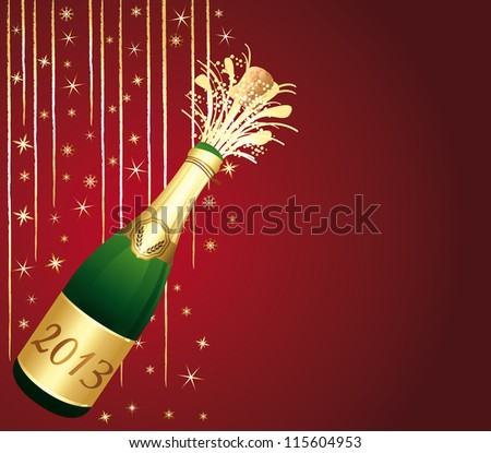 2013 Champagne bottle popping. Beautiful red and gold greeting card. Happy new year !