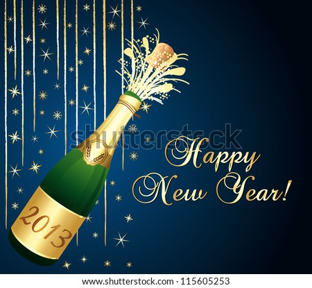 2013 Champagne bottle popping. Blue and gold greeting card. Happy new year !