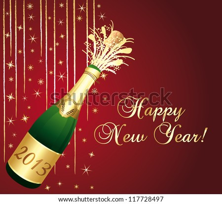 2013 Champagne bottle popping. Red and gold greeting card. Happy new year !