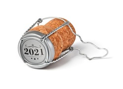 2021 champagne cork isolated on white