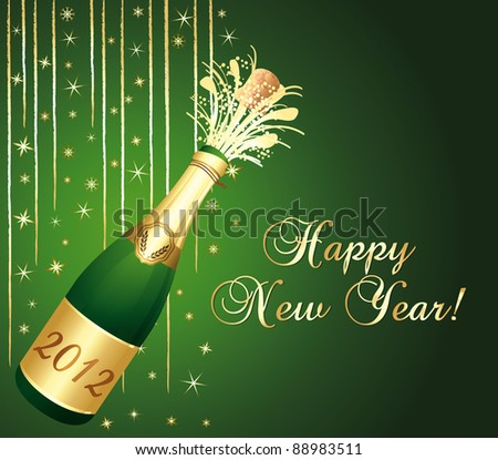 2012 Champaign bottle popping. Green and gold happy new year greeting card.
