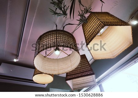 ็Chandelier on the ceiling. Hanging Lamps. Vintage furniture. Lighting. Home decoration. Round shape. Square shape. Hexagon Shape.
