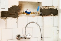 change of lead pipes and water meter  in old kitchen due to health hazard, plumber job
