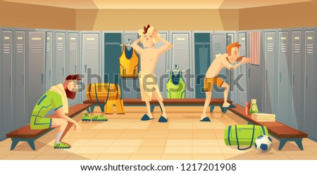 changing room with football players, athletes. Sportsmen after training, lockers with uniform, costumes for team. Cartoon background with school gym.