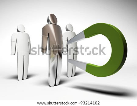 3 characters and one green horseshoe magnet attracting the one of them - grey background