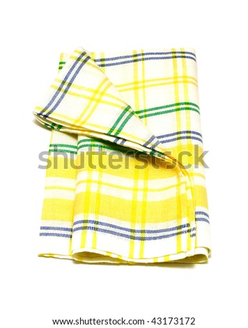 Checkered kitchen towel isolated in white background