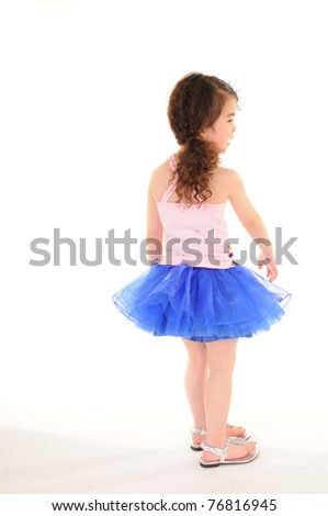Cheerful girl wearing dress isolated on white .Back to the camera