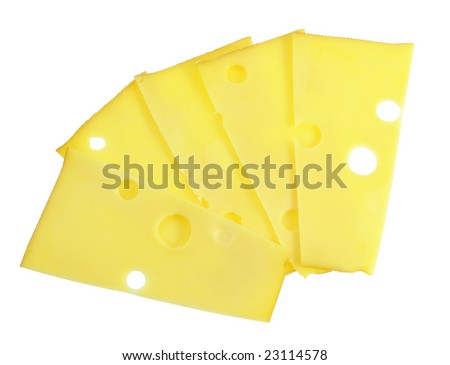 cheese  sliced isolated on the white background