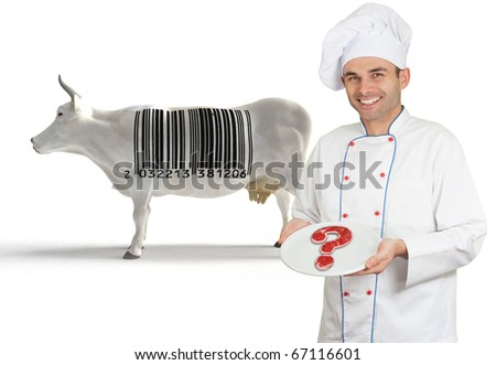 Chef presenting a plate with a doubtful meat, with a cow with a barcode in the background